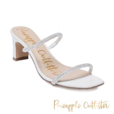 Pineapple Outfitter 氣質款女鞋 雙細帶粗高跟涼鞋-鑽白色