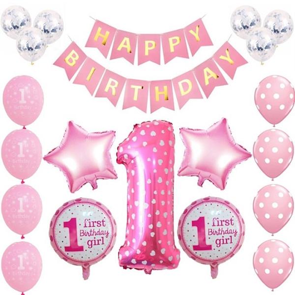 [拉拉百貨]GIRL/BOY 週歲慶生 氣球 紙旗組 慶生氣球 佈置 DIY 寶寶慶生