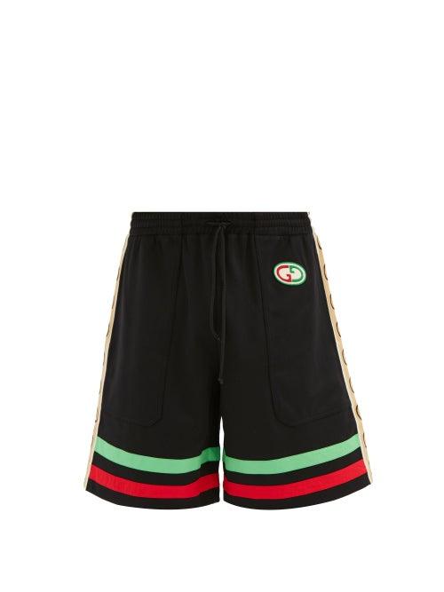 Gucci - GG-patch Web Stripe Jersey Shorts - Mens - Black Multi