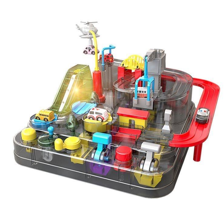 【Love Shop】透明款 托思奇汽車大冒險 闖關大冒險 兒童汽車闖關滑行 軌道車玩具