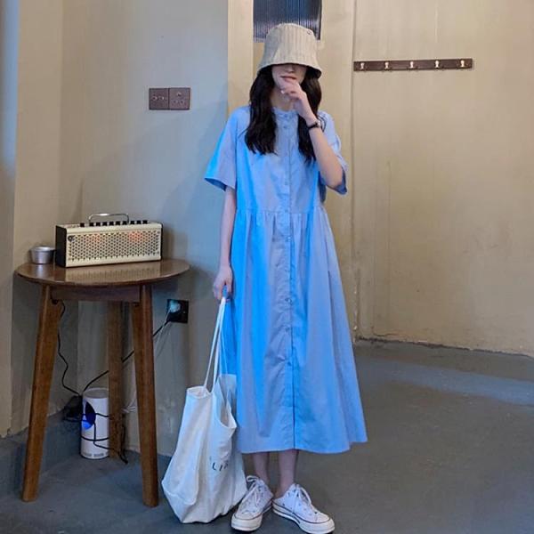 襯衫洋裝 新款寬鬆韓版藍色裙子女夏季中長款襯衫裙氣質連衣裙法式長裙 - 風尚3C
