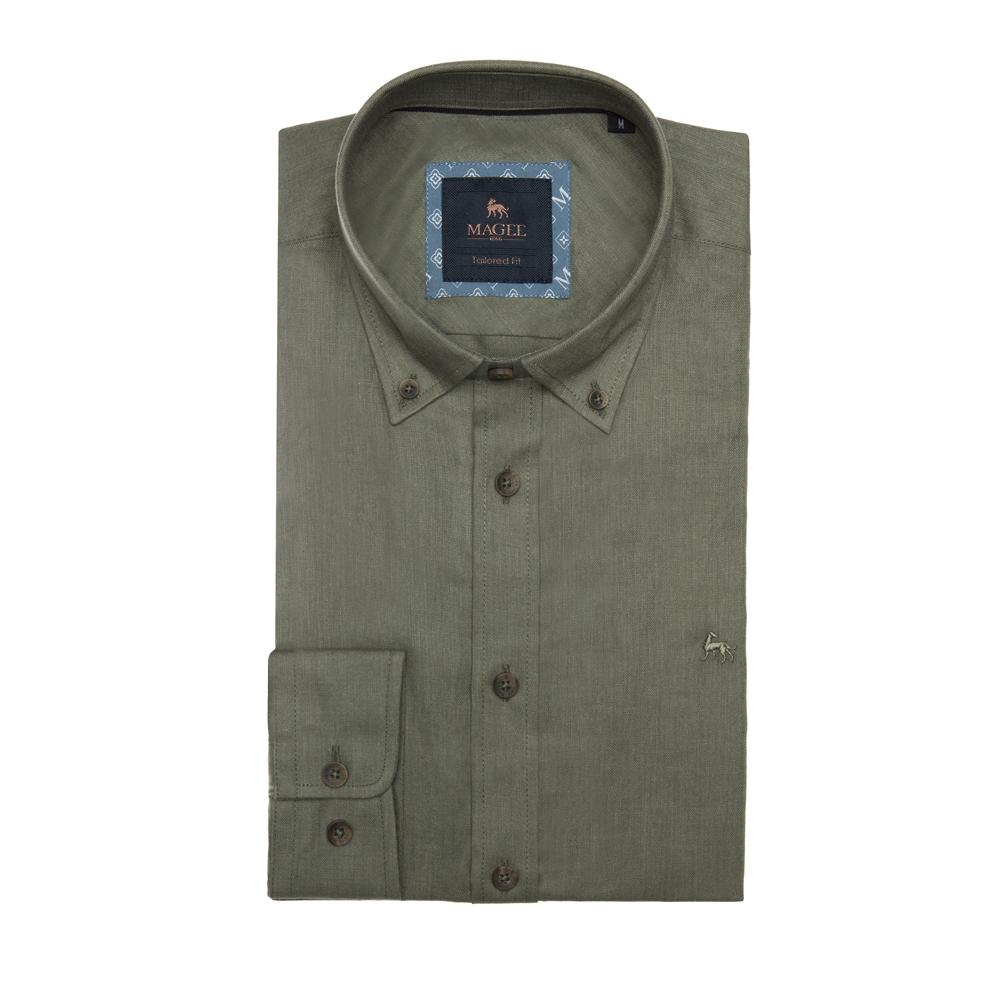 Magee 1866 Safari Green Rarooey Tailored Fit Shirt