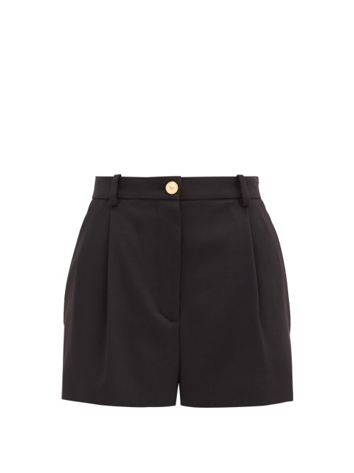 Versace - High-rise Wool-blend Shorts - Womens - Black