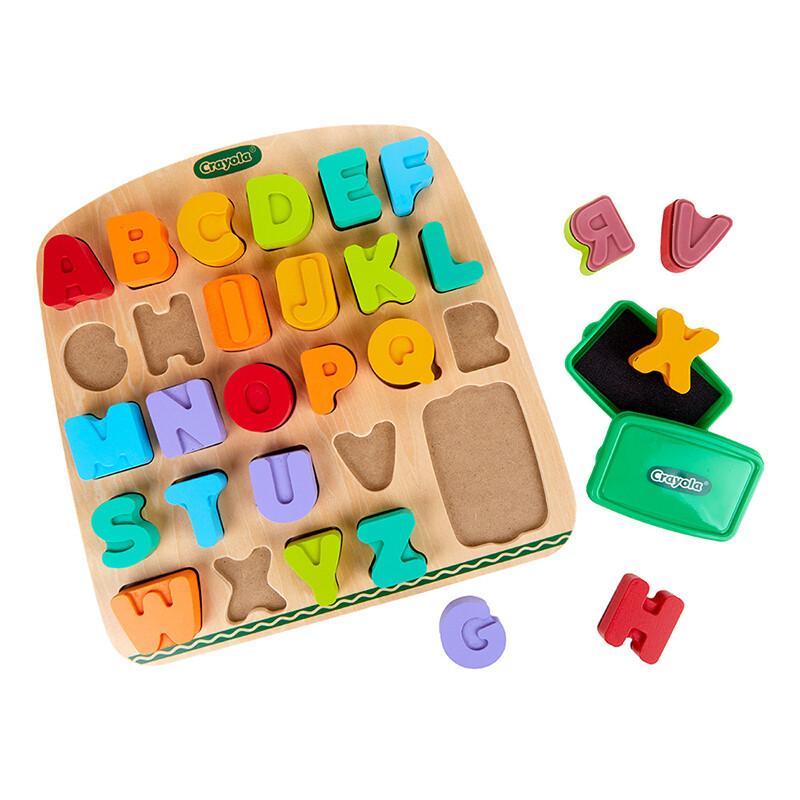 娃娃國美國 crayola繪兒樂 早教創意啟蒙趣味蓋印塗鴉字母木拼圖