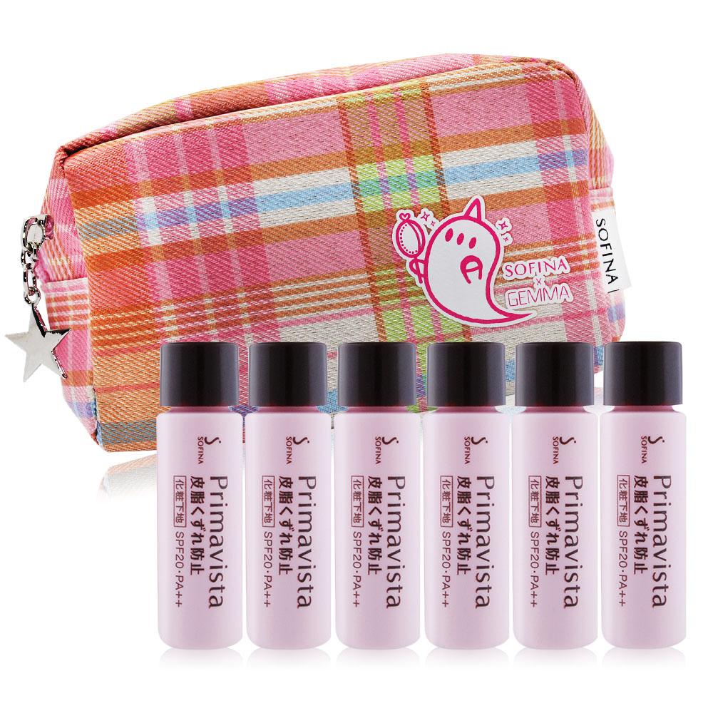 SOFINA 蘇菲娜 Primavista 零油光妝前修飾乳SPF20‧PA++(升級版) (5ml)X6加贈品牌化妝包