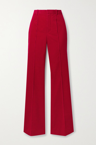 SAINT LAURENT - 纯棉灯芯绒喇叭裤 - 砖红色 - FR34