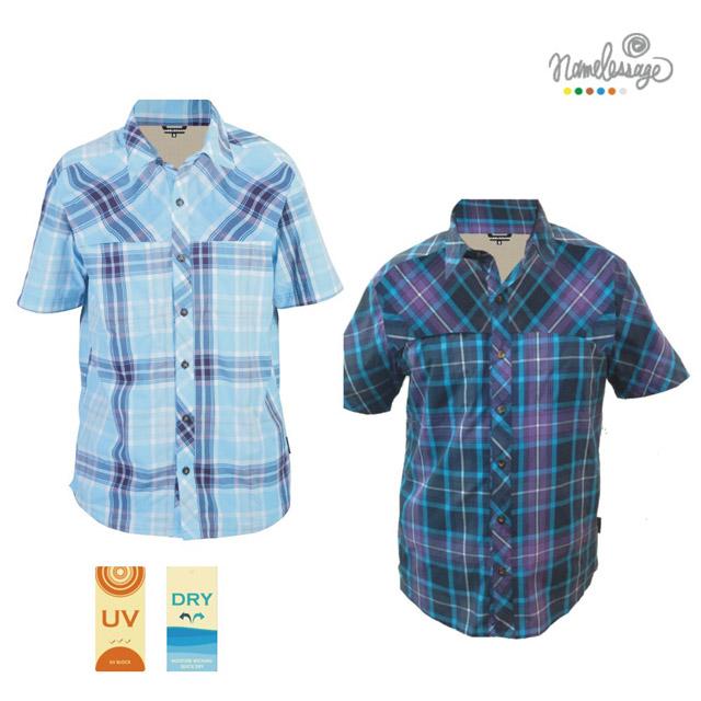 namelessage無名世代男款抗UV吸濕排汗格紋短袖襯衫(淺藍/深藍)_051M601