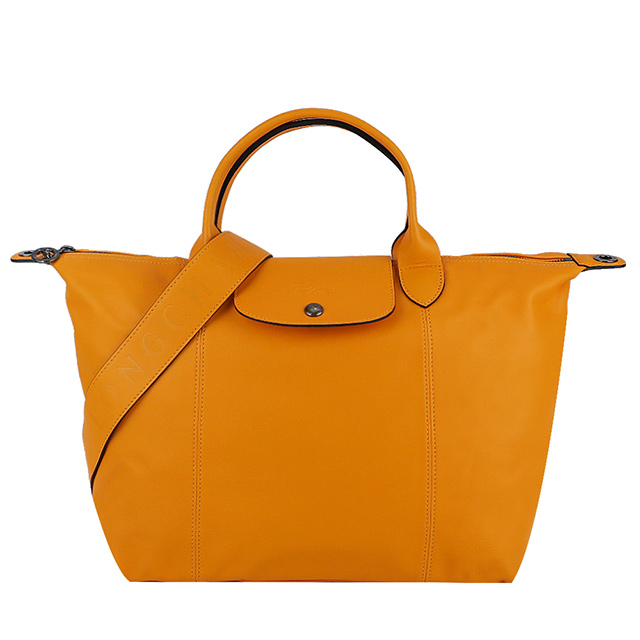 LONGCHAMP Le Pliage Cuir 小羊皮寬背帶短把折疊水餃包(中/柳橙)