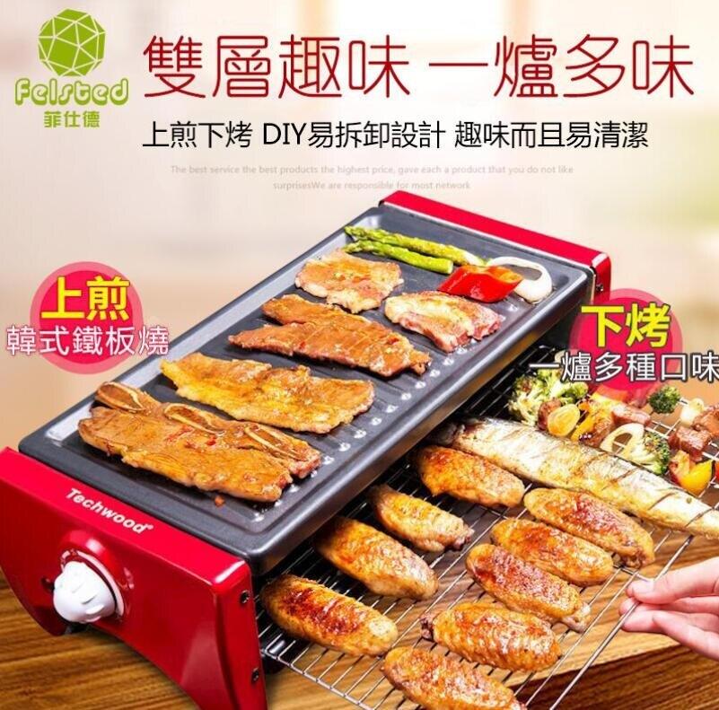 現貨 中號烤肉盤110V專用 韓式烤肉不粘烤盤烤肉機電烤盤 雙層烤肉 樂樂百貨