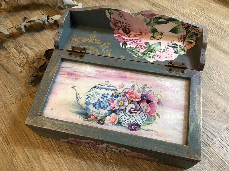 恬靜粉花午茶盒 收納盒 四格 可客訂【限量現貨款】