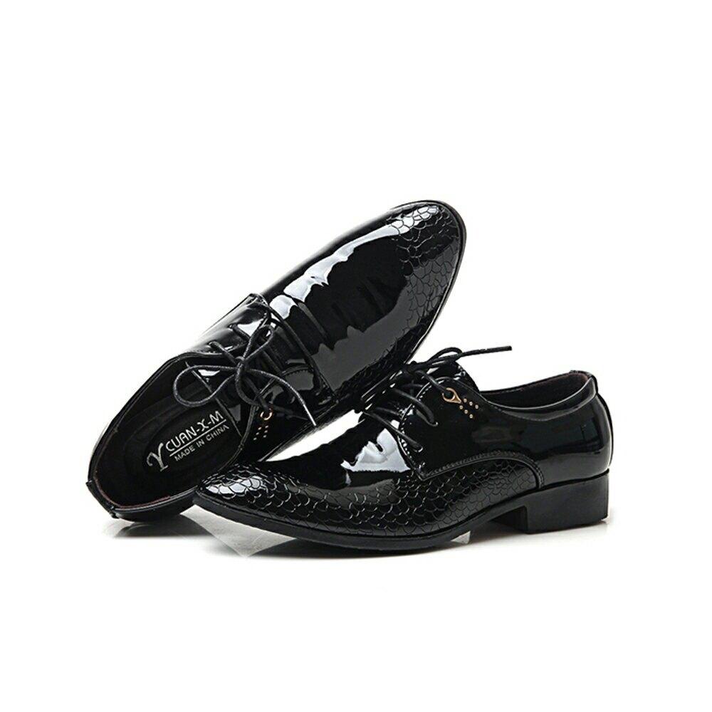 皮鞋 男士皮鞋商務正裝婚鞋工裝夏季低幫亮色增高尖頭英倫潮男鏤空