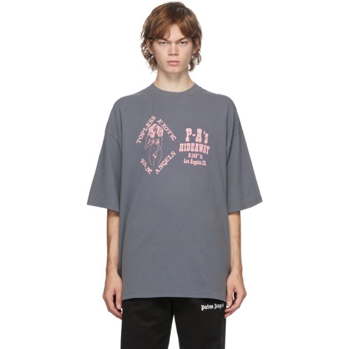 Palm Angels 灰色 and 粉色 GD Exotic Club Boxy T 恤