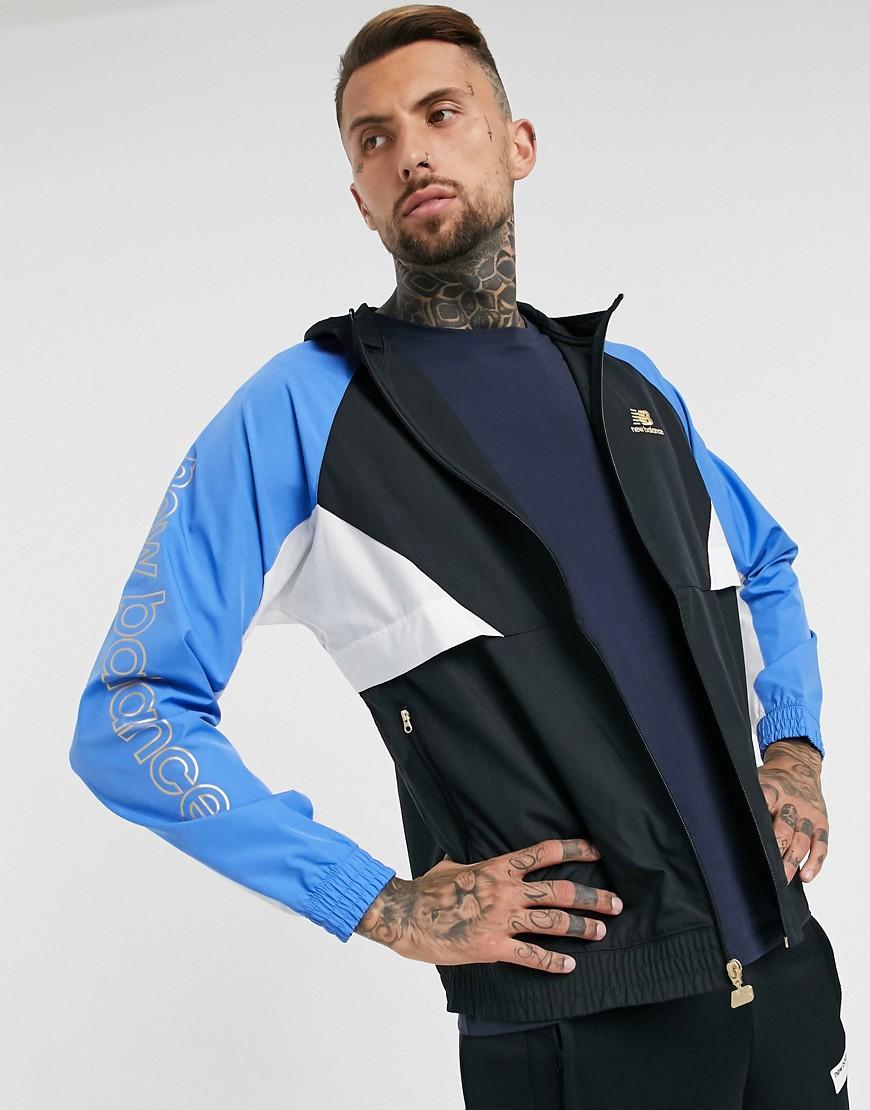 New Balance Athletics windbreaker jacket in black and blue