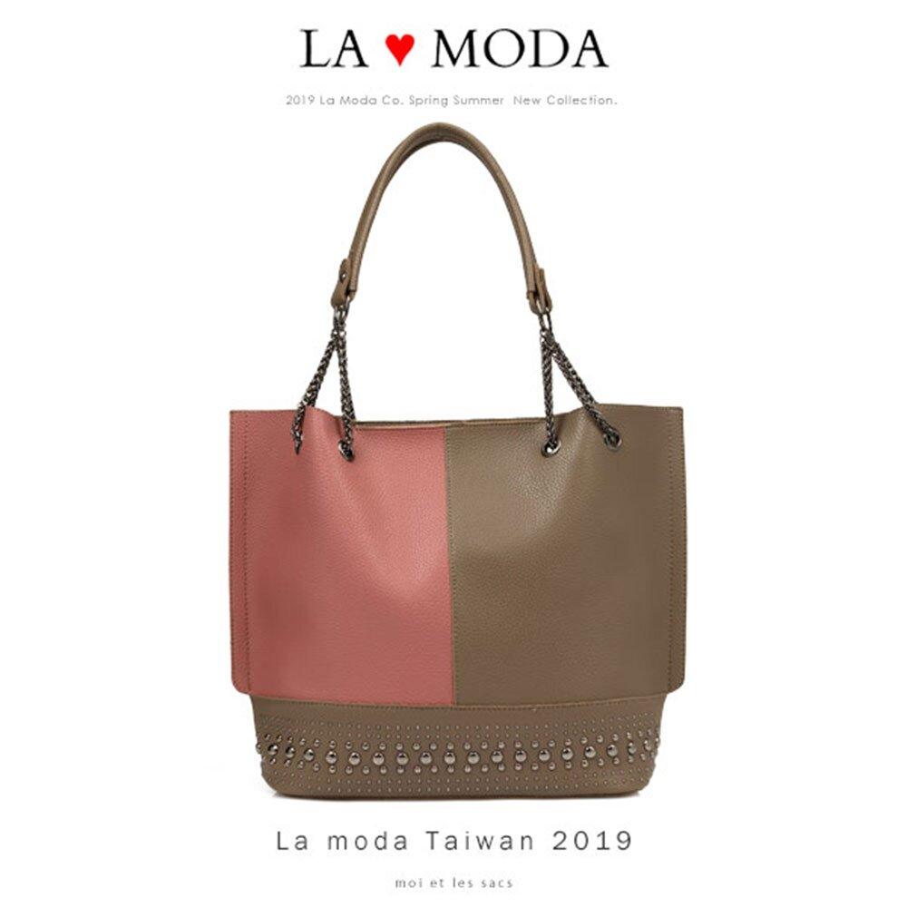 【La Moda】質感拼接大容量鉚釘裝飾肩背托特包(共3色)