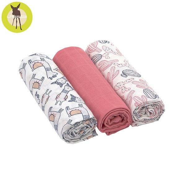 德國 Lassig 超柔手感竹纖維嬰兒包巾毯3入-羊駝粉【佳兒園婦幼館】