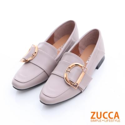 ZUCCA-D金屬環紳士平底鞋-灰-z6629gy