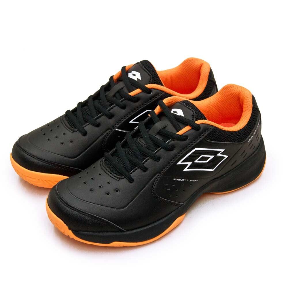 lotto全地形入門級網球鞋 space 600系列 附贈橘色鞋帶 黑橘 2230 男