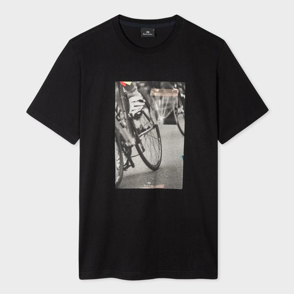 Men's Black Photographic 'Bicycle' Print Organic-Cotton T-Shirt