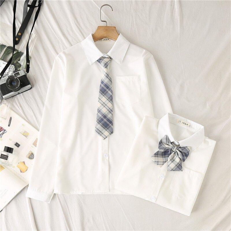 JK制服襯衫女長袖基礎款新款寬鬆學生白色襯衣打