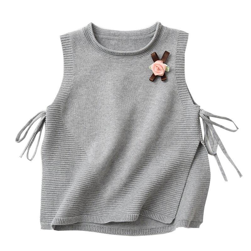 小背心兒童純棉針織馬甲女童胸花背心毛衣坎套頭肩