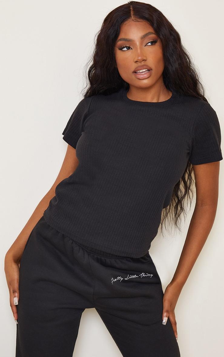 Black Thick Rib Short Sleeve T Shirt