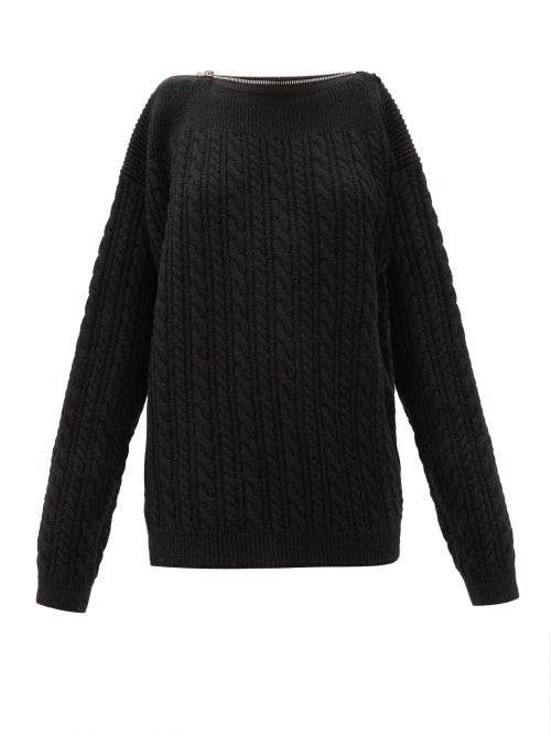 Raf Simons - Zipped-neckline Cable-knit Wool Sweater - Womens - Black