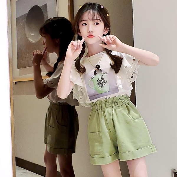 女童夏裝洋氣套裝夏季正韓兒童短褲12歲10中大童13-Milano米蘭
