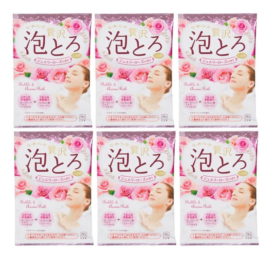 日本製 COW 牛乳石鹼 奢侈泡泡入浴劑(粉-牛奶+玫瑰)30g/包X6 濃密泡泡*夏日微風*