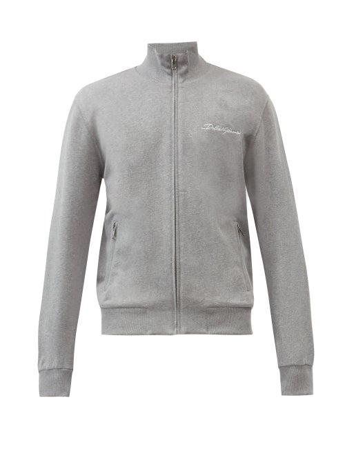 Dolce & Gabbana - Logo-embroidered Cotton-blend Jersey Track Jacket - Mens - Grey