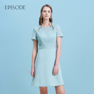 EPISODE - 綠色蕾絲雪紡拼接短袖洋裝