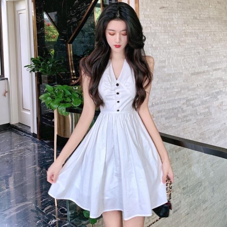 OL洋裝 夏季名媛OL氣質無袖洋氣排扣性感深V連身裙大擺短裙子 年貨節預購