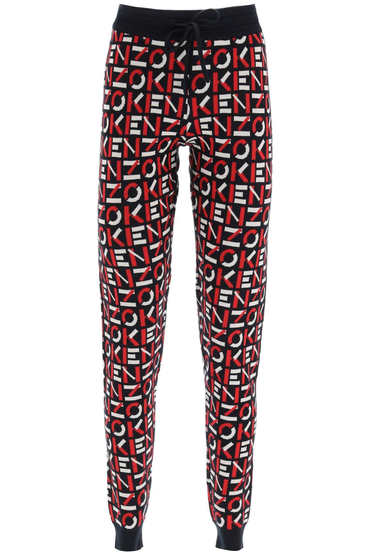KENZO MONOGRAM JACQUARD JOGGER PANTS XS Black, Red, White Cotton