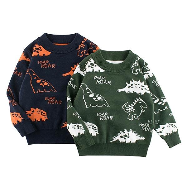 多種塗鴉恐龍圓領長袖上衣 童裝 針織上衣