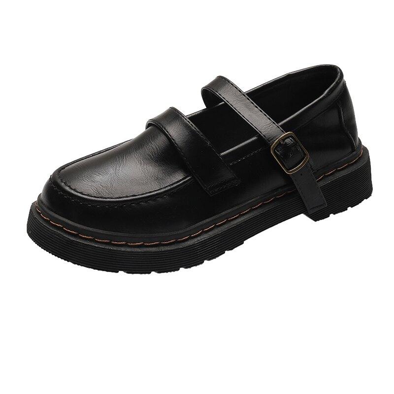 小皮鞋女學生學院風鞋一字扣日系復古鞋