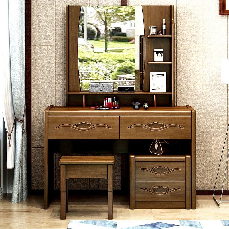 中式臥室家具梳妝桌網紅實木梳妝臺迷你收納化妝臺套裝廠家直銷