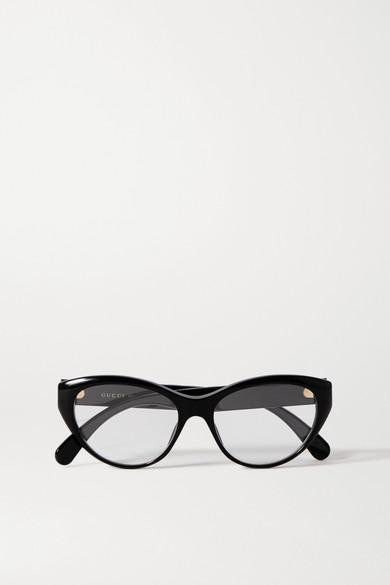 Gucci - 板材猫眼光学眼镜 - 黑色 - one size