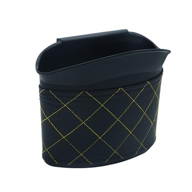 開放式車載垃圾桶 外層pu皮革 多功能車用垃圾桶 車用置物盒 收納盒 彈性卡扣可掛式 汽車垃圾桶 -