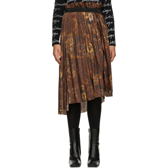 Balenciaga 棕色 Floral 褶裥半身裙