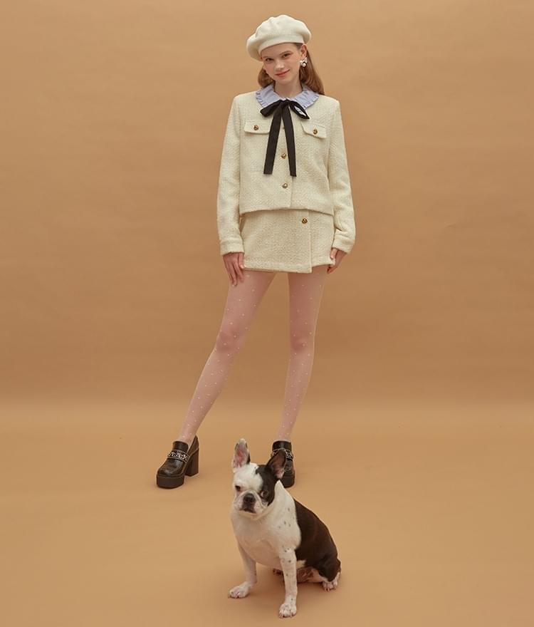 韓國空運 - Heart Tweed Jacket Heart Tweed Skirt (Ivory)SET 套裝