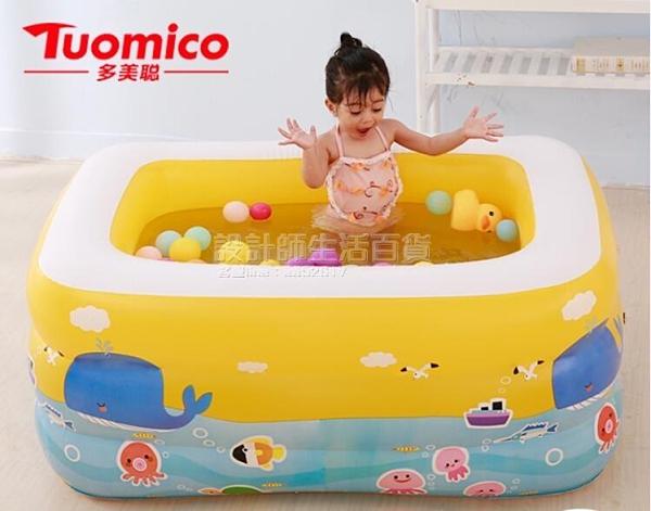 兒童游泳池充氣嬰兒大人家用洗澡桶家庭加厚超大號戲水池海洋球池 設計師生活百貨
