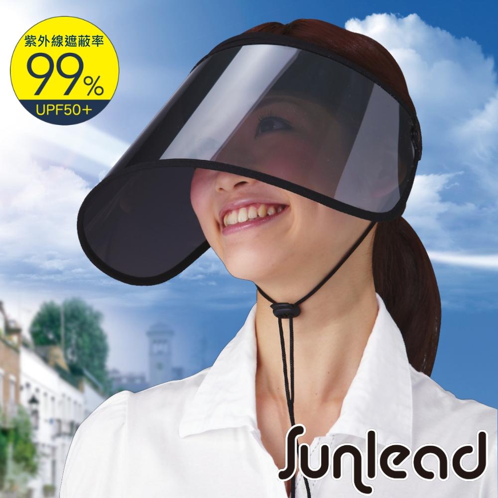 Sunlead 防風吹落  防曬護臉透明長帽簷遮陽帽/空心帽/中空帽