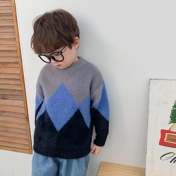 男童毛衣水貂絨毛衣2020春秋新款中小女童套頭洋氣針織衫長袖上衣 童趣潮品
