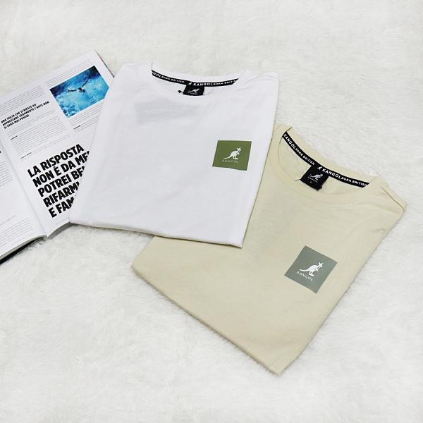 R- KANGOL 袋鼠 短袖上衣 方塊LOGO 運動 休閒 透氣 舒適 白綠 卡其灰 2色 男女款 6021102700