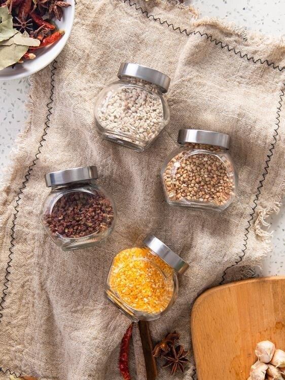 調味罐套裝玻璃調料瓶廚房用品調味罐胡椒鹽粉調味料瓶調料罐調料盒套裝家用 清涼一夏钜惠