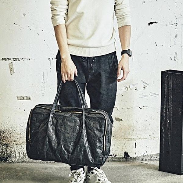 杜邦紙旅行袋-14吋大容量黑色休閒男女手提包73ym16[巴黎精品]