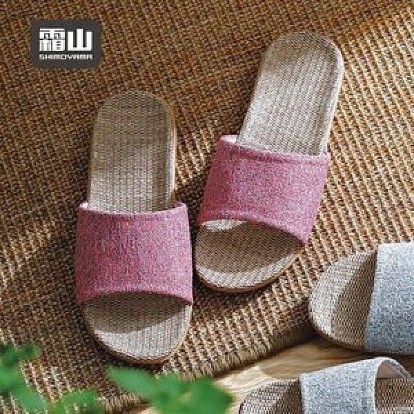【日本霜山】EVA日式禪風亞麻防滑室內拖鞋-多色男女款可選藏青-XL(26-26.5cm)