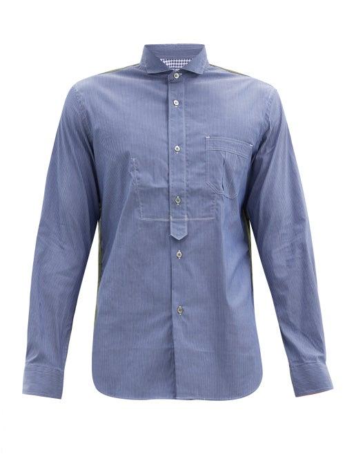 Junya Watanabe - Military-panel Poplin Shirt - Mens - Blue Multi