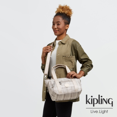 Kipling 溫柔奶油格紋手提側背包-ART MINI