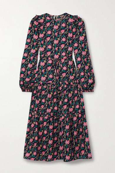 Anna Mason - Christy 层接式花卉印花纯棉府绸中长连衣裙 - 紫色 - UK8