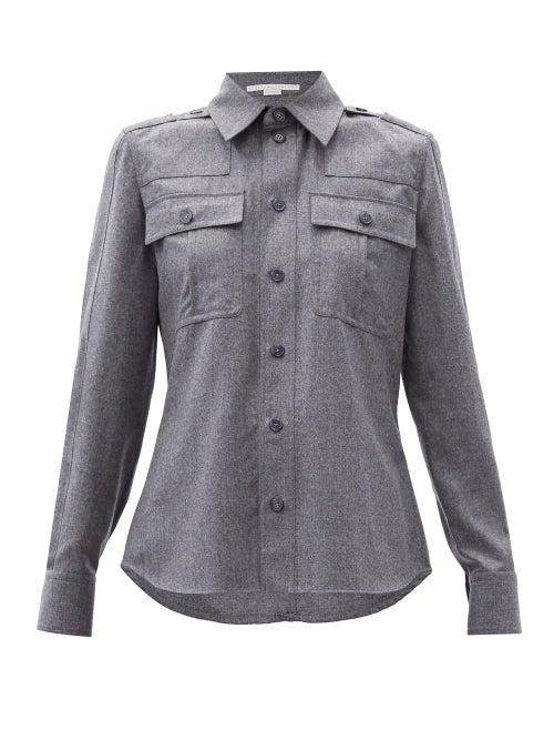 Stella Mccartney - Flap-pocket Wool-blend Flannel Shirt - Womens - Grey